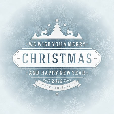 greetings from: Christmas retro typography and light with snowflakes. Merry Christmas holidays wish greeting card design and vintage ornament decoration. Happy new year message. Vector background Eps 10.