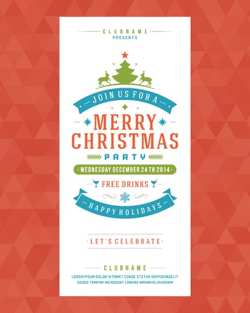 Christmas party invitation retro typography and ornament decoration. Christmas holidays flyer or poster design. Vector illustration Ilustração