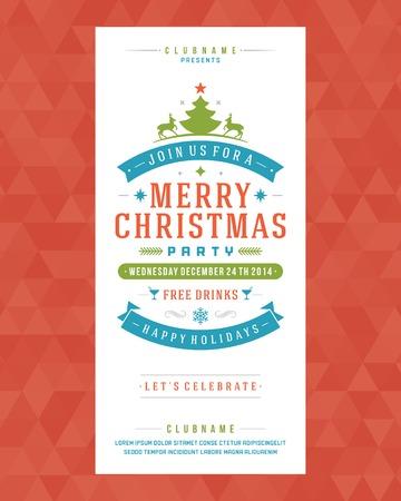 mo�os de navidad: Invitaci�n de la fiesta de Navidad de la tipograf�a retro y ornamento decoraci�n. Vacaciones de Navidad Flyer o dise�o del cartel. Ilustraci�n vectorial