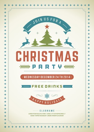 party flyer: Christmas party invitation retro typography and ornament decoration. Christmas holidays flyer or poster design. Vector illustration Illustration