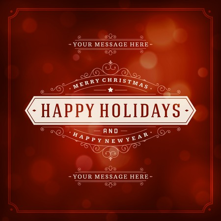 holiday celebrations: Christmas retro typography and light background. Merry Christmas holidays wish greeting card design and vintage ornament decoration. Happy new year message. Vector illustration Eps 10.