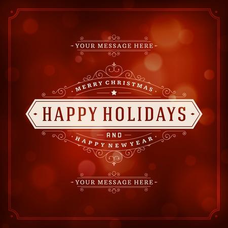 fondo para tarjetas: Navidad tipograf�a retro y fondo claro. D�as de fiesta Feliz Navidad desean dise�o de tarjetas de felicitaci�n y de la vendimia ornamento decoraci�n. Feliz a�o nuevo mensaje. Ilustraci�n vectorial Eps 10. Vectores