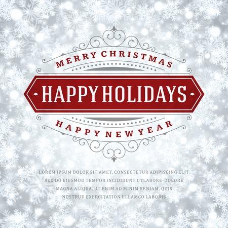feriado: Luz de la Navidad de tarjetas de felicitación y los copos de nieve de vectores de fondo. Días de fiesta Feliz Navidad desean diseño y de la vendimia ornamento decoración. Feliz año nuevo mensaje. Ilustración del vector.