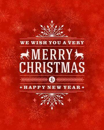 Kerst wenskaart licht en sneeuwvlokken vector achtergrond. Prettige kerstdagen wensen design en vintage ornament decoratie. Gelukkig Nieuwjaar bericht. Vector illustratie.