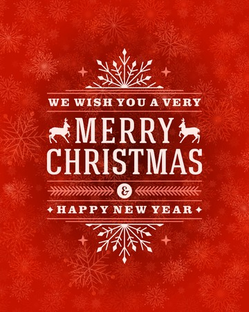 motivos navide�os: Luz de la Navidad de tarjetas de felicitaci�n y los copos de nieve de vectores de fondo. D�as de fiesta Feliz Navidad desean dise�o y de la vendimia ornamento decoraci�n. Feliz a�o nuevo mensaje. Ilustraci�n del vector.