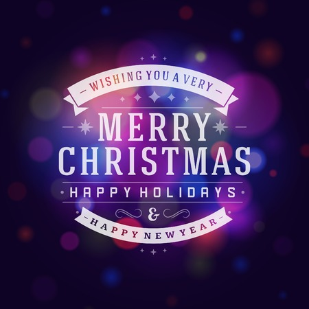 Christmas greeting card light vector background. Merry Christmas holidays wish design and vintage ornament decoration. Happy new year message. Vector illustration.