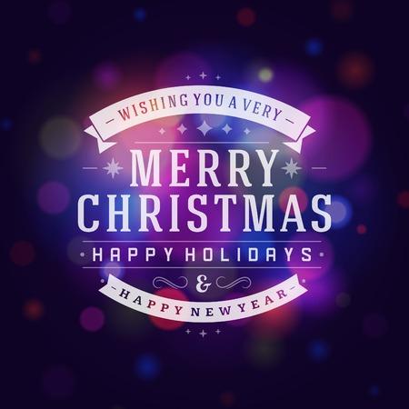 muerdago navideÃ?  Ã? Ã?±o: Tarjeta de felicitación de Navidad de vectores de fondo luz. Días de fiesta Feliz Navidad desean diseño y de la vendimia ornamento decoración. Feliz año nuevo mensaje. Ilustración del vector. Vectores