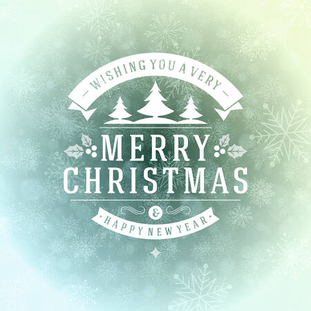 Christmas greeting card light and snowflakes vector background. Merry Christmas holidays wish design and vintage ornament decoration. Happy new year message. Vector illustration. Vector