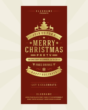 christmas music: Christmas party invitation retro typography and ornament decoration. Christmas holidays flyer or poster design. Vector illustration Illustration