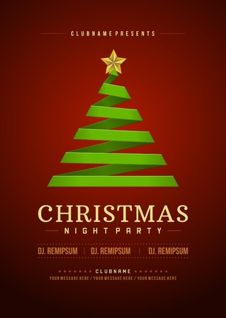 Kerstfeest uitnodiging retro typografie en ornament decoratie. Kerstvakantie flyer of affiche ontwerp. Vector illustratie Stock Illustratie