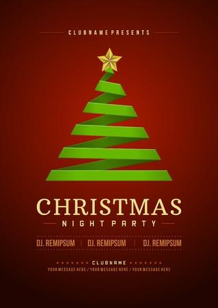 Weihnachtsparty Einladung Retro Typografie und Ornament Dekoration. Weihnachten Flyer oder Poster-Design. Vektor-Illustration Standard-Bild - 34400438