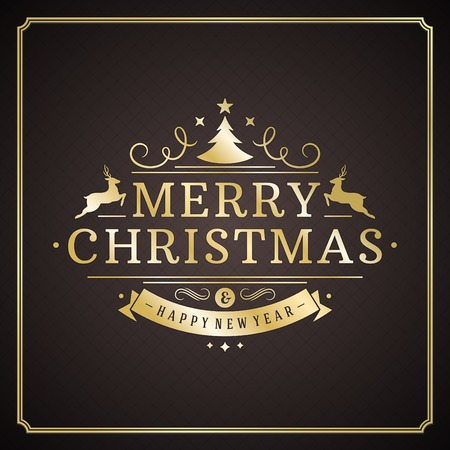 gold christmas: Christmas retro typography and ornament decoration. Merry Christmas holidays wish greeting card design and vintage background. Happy new year message. Vector illustration