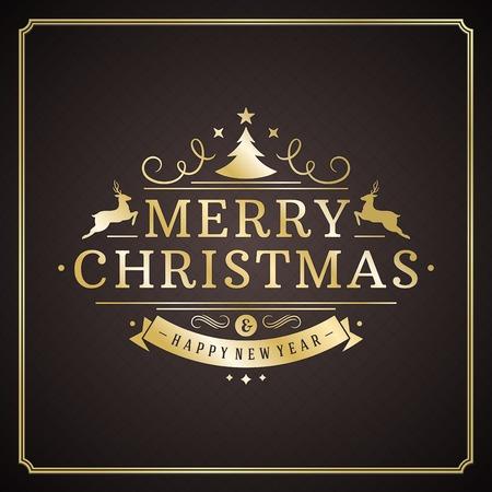 pascuas navideÑas: Navidad tipografía retro y ornamento decoración. Días de fiesta Feliz Navidad desean diseño de tarjetas de felicitación y fondo de la vendimia. Feliz año nuevo mensaje. Ilustración vectorial
