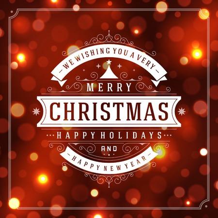 Carte de voeux de Noël vecteur lumière de fond. Vacances Joyeux Noël souhaitent conception et la décoration ornement vintage. Nouveau message de Bonne année. Vector illustration.