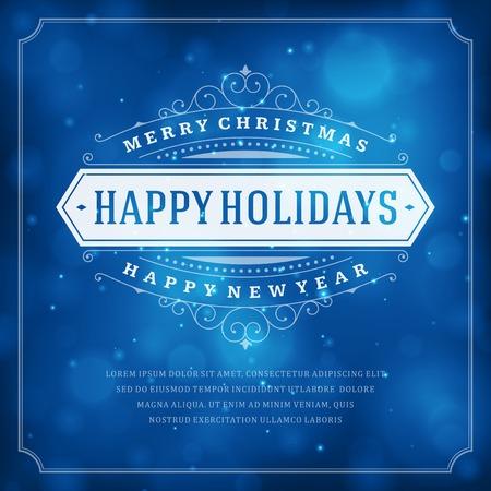 azul: Navidad tipografía retro y fondo claro. Días de fiesta Feliz Navidad desean diseño de tarjetas de felicitación y de la vendimia ornamento decoración. Feliz año nuevo mensaje. Ilustración vectorial Eps 10. Vectores