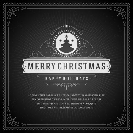 Christmas retro typography and ornament decoration. Merry Christmas holidays wish greeting card design and vintage background. Happy new year message. Vector illustration Vector