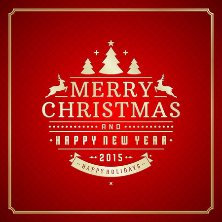 backgrounds texture: Christmas retro typography and ornament decoration. Merry Christmas holidays wish greeting card design and vintage background. Happy new year message. Vector illustration