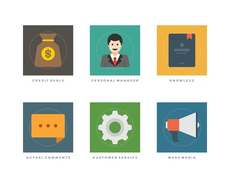 actual: Business flat design icons, Credit Deals, Personal Manager, Knowlege, Actual Comments, Customer Service, Mass Media. Vector illustration for website and promotion banners.