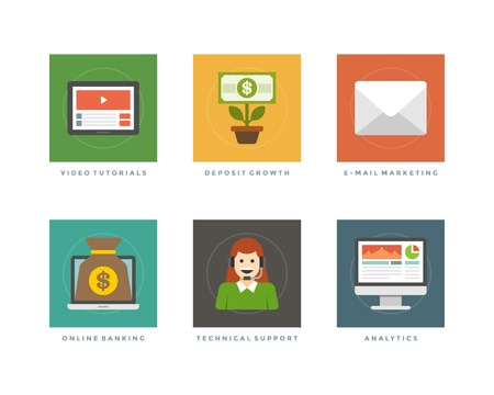 tutorials: Business flat design icons, Video Tutorials, Deposit Growth, E-mail Marketing, Online Banking, Technical Support, Analytics. Vector illustration for website and promotion banners.