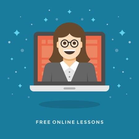 dersleri: Web sitesi ve tanıtım afiş için düz tasarım vektör iş illüstrasyon kavramı Çevrimiçi dersler kadın öğretmen karakteri. Çizim
