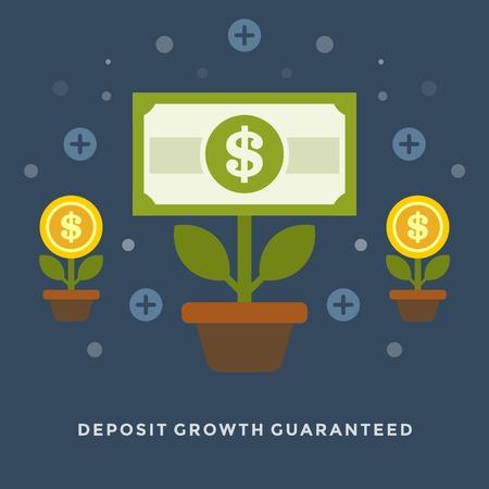 Diseño de ilustración vectorial concepto de negocio de crecimiento de los depósitos de dinero plana como las flores para la web y banners de promoción.