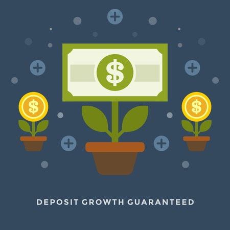 Flat design vector business illustration concept Money deposit growth as flowers for website and promotion banners. Vettoriali
