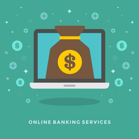 checkout line: Flat design vector business illustration concept Online banking services and laptop for website and promotion banners.