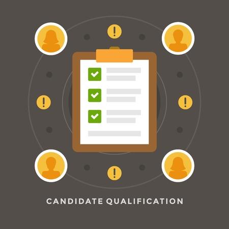フラットなデザイン ベクトル ビジネス イラスト概念候補資格就職の面接とチェック リストのウェブサイトやプロモーションのバナー。