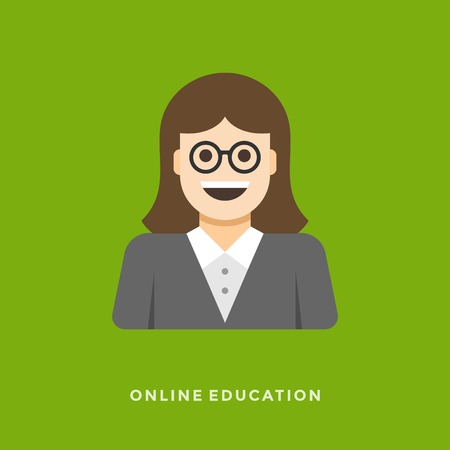 Flat design vector business illustration concept Online lessons woman teacher character for website and promotion banners. Vector
