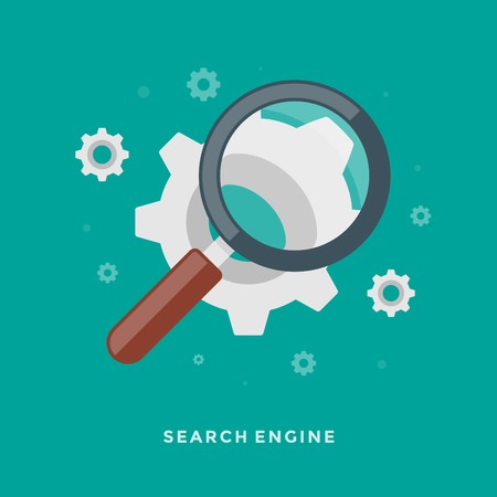 Flat design vector business illustration concept Search Engine Optimization magnifying glass and gears for website and promotion banners. Vector