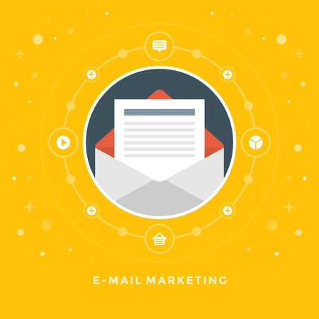 Flat design vector business illustration concept E-mail marketing open envelope and letter for website and promotion banners.