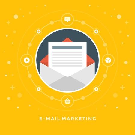 Platte ontwerp vector zaken illustratie concept van e-mail marketing open envelop en brief voor de website en promotie banners. Stock Illustratie