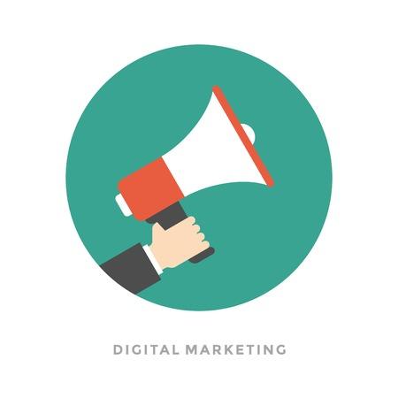 フラットなデザイン ベクトル ビジネス イラスト概念デジタル マーケティング ビジネス男持株メガホンのウェブサイトやプロモーションのバナー。