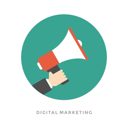 Appartement design vector homme d'affaires d'affaires illustration concept de marketing numérique tenant mégaphone de site Internet et de promotion des bannières.