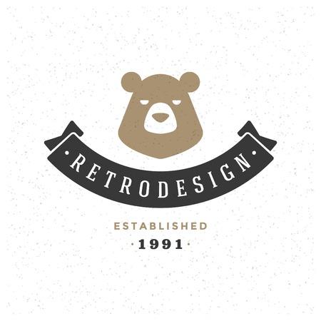 oso: Retro Vintage insignias o logotipo Vector elemento de dise�o, r�tulo de la cara del oso plantilla. Vectores