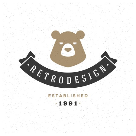 Retro Vintage Insignia or Logotype Vector design element, business sign template bear face.