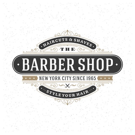 barber shop: Retro Vintage Insignia or icon type Vector design element, business sign template.