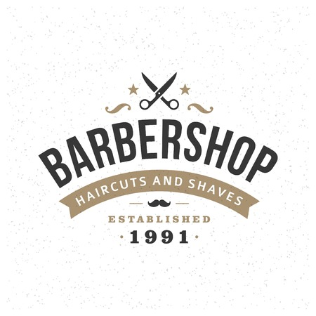 barber: Retro Vintage Insignia or icon type Vector design element, business sign template.