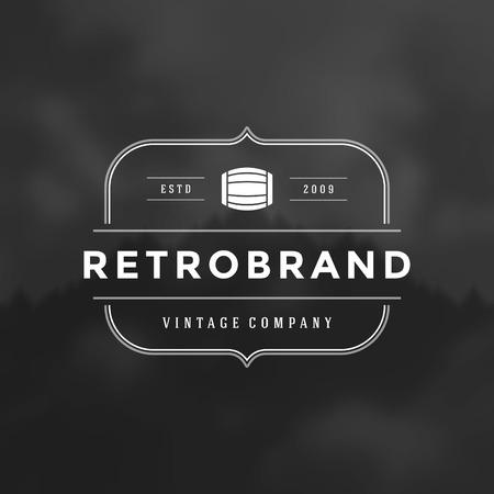 cerveza: Retro Vintage insignias o logotipo Vector elemento de dise�o, plantilla r�tulo de establecimiento. Vectores