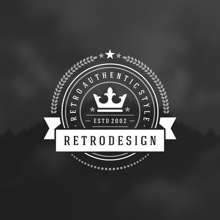 satisfaction guaranteed: Retro Vintage Insignia or icontype Vector design element, business sign template. Illustration