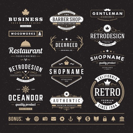 hipster: Retro Vintage Insignias or icon types set. Vector design elements, business signs,  identity, labels, badges and objects.