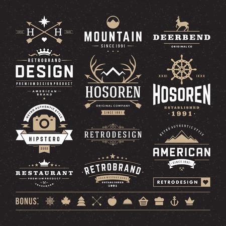 insignias: Retro Vintage Insignias o tipos de conjunto de iconos. Elementos del vector de diseño, rótulos de establecimientos, identidad, etiquetas, escudos y objetos.