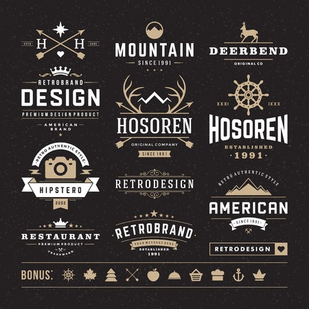 types: Retro Vintage Insignias or icon types set. Vector design elements, business signs, identity, labels, badges and objects.