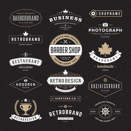 name tag: Retro Vintage Insignias or Logotypes set. Vector design elements, business signs, logos, identity, labels, badges and objects.