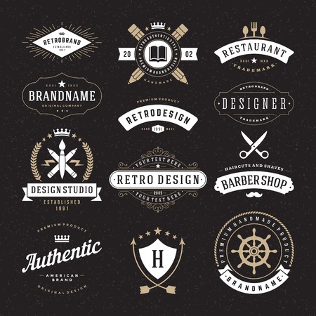 shield: Retro Vintage Insignias or icon types set. Vector design elements, business signs, identity, labels, badges and objects.
