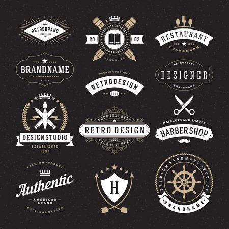 Retro Weinlese-Insignien oder das Symbol Typen eingestellt. Vektor-Design-Elemente, Business-Zeichen, Identität, Etiketten, Abzeichen und Objekte. Illustration