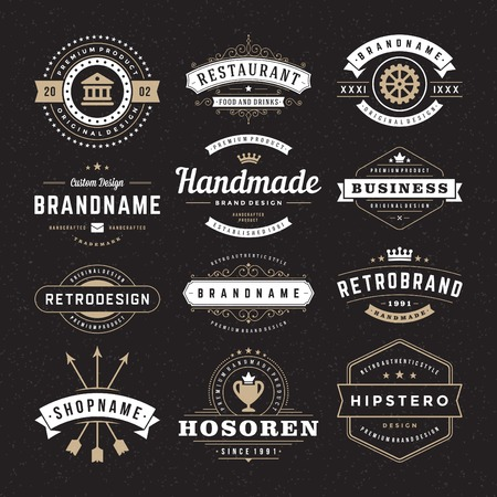 레트로 빈티지 휘장이나 로고 타입을 설정합니다. 벡터 디자인 요소, 비즈니스 표지판, 로고, 정체성, 레이블, 배지 및 객체. 일러스트