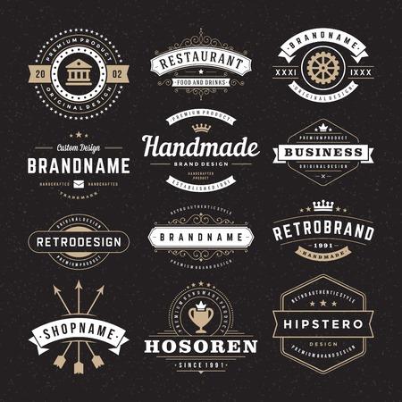 insignias: Retro Insignias o logotipos serie Vintage. Elementos del vector de diseño, negocios signos, logotipos, identidad, etiquetas, escudos y objetos. Vectores