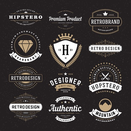 vintage: Retro Vintage Insignias ya Logolar ayarlayın. Vektör tasarım öğeleri, iş işaretler, logolar, kimlik, etiketler, rozetler ve nesneler.