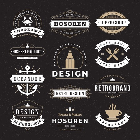 Retro Vintage Insignias or icon types set. Vector design elements, business signs, identity, labels, badges and objects.